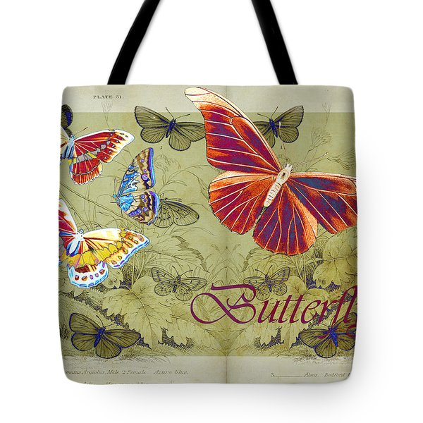 Blue Butterfly - Orange On Green - S02a Tote Bag by Variance Collections