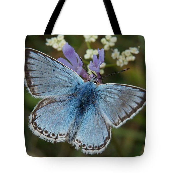 Tote Bag featuring the digital art Blue Butterfly by Ron Harpham