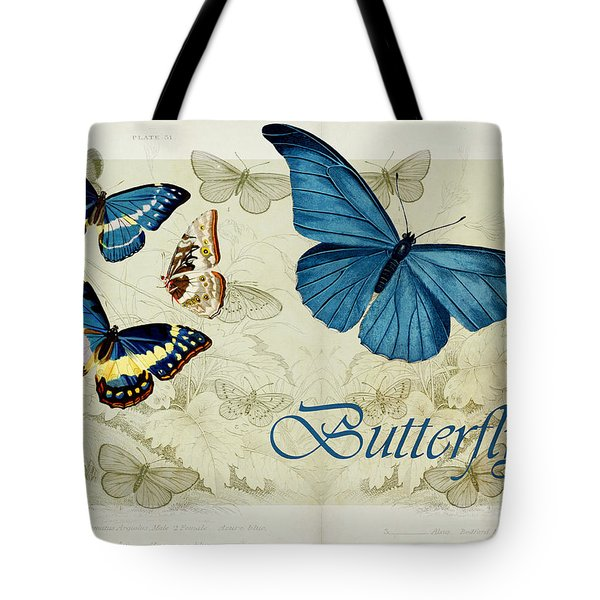 Blue Butterfly - S01a Tote Bag by Variance Collections