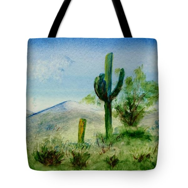 Tote Bag featuring the painting Blue Cactus by Jamie Frier