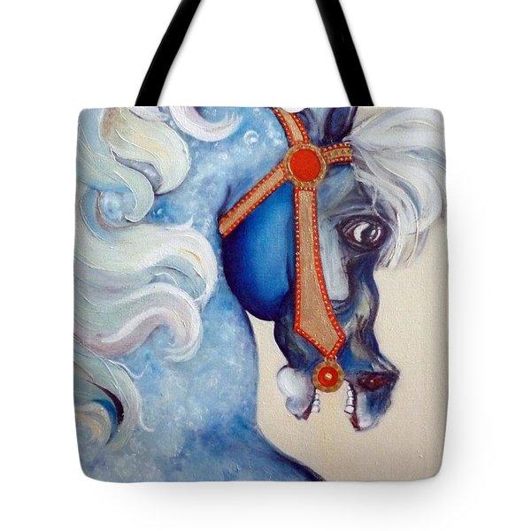 Blue Carousel Tote Bag