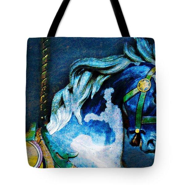 Blue Carousel Horse Tote Bag