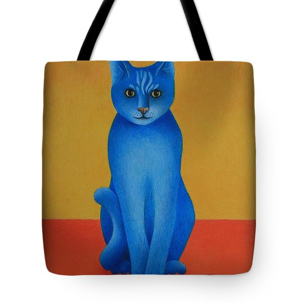 Blue Cat Tote Bag by Pamela Clements