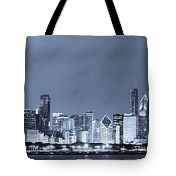 Blue Chicago Skyline Tote Bag by Sebastian Musial