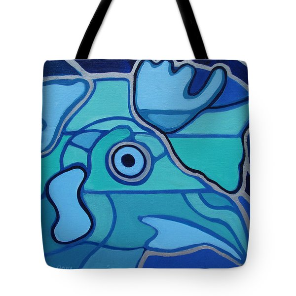 Blue Chicken Abstract Tote Bag