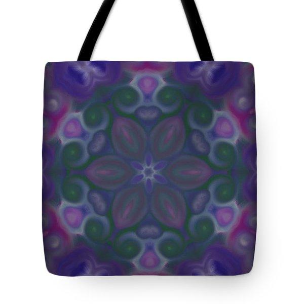 Blue Circle Mandala Tote Bag by Karen Buford