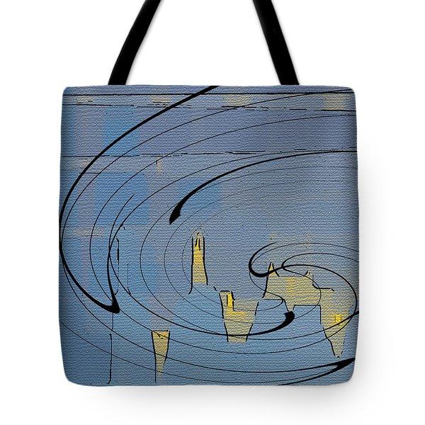 Blue Cityscape Tote Bag by Ben and Raisa Gertsberg