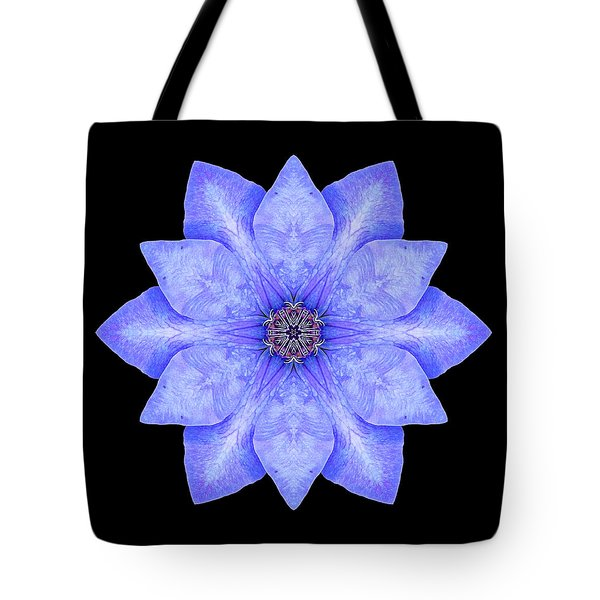 Blue Clematis Flower Mandala Tote Bag