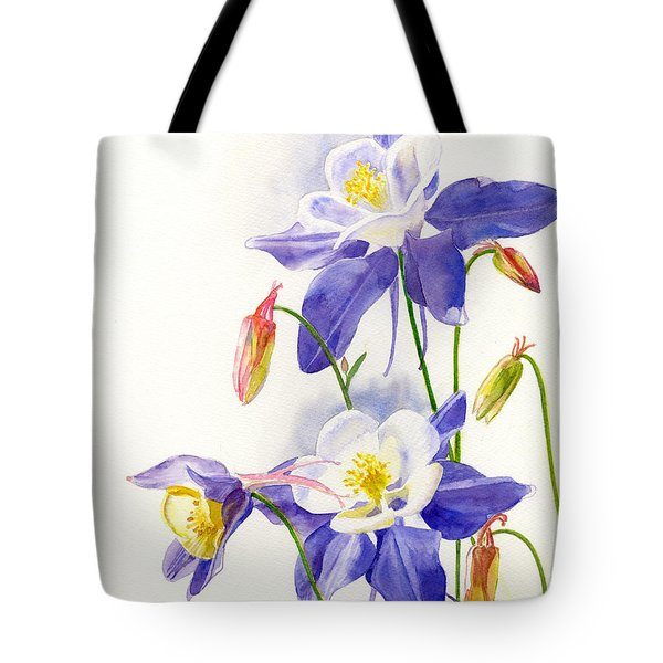 Blue Columbine Blossoms Tote Bag by Sharon Freeman