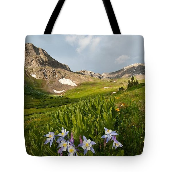 Handie's Peak And Blue Columbine On A Summer Morning Tote Bag