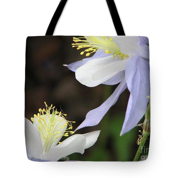 Blue Columbine Tote Bag by Roxy Riou