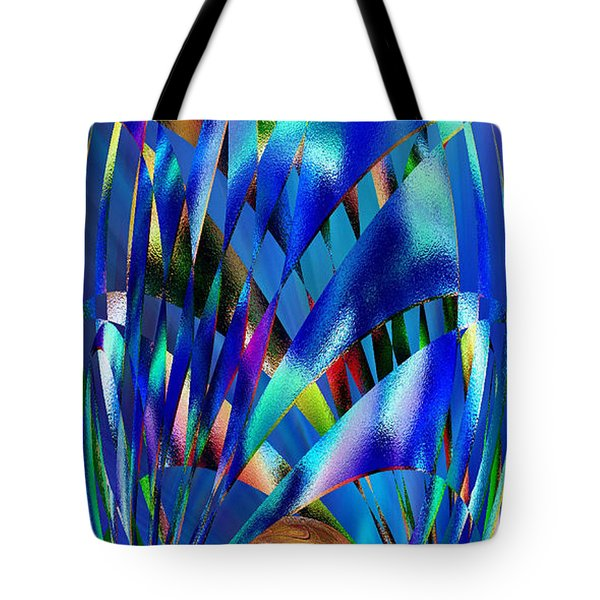 Blue Cosmic Egg - Abstract Tote Bag by rd Erickson