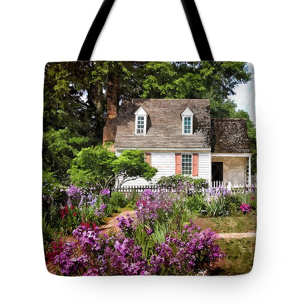 Blue Cottage Tote Bag