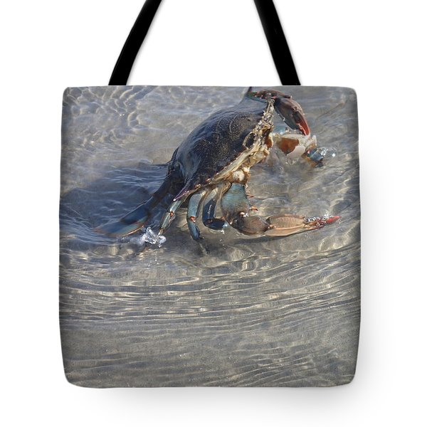 Blue Crab Chillin Tote Bag by Robert Nickologianis