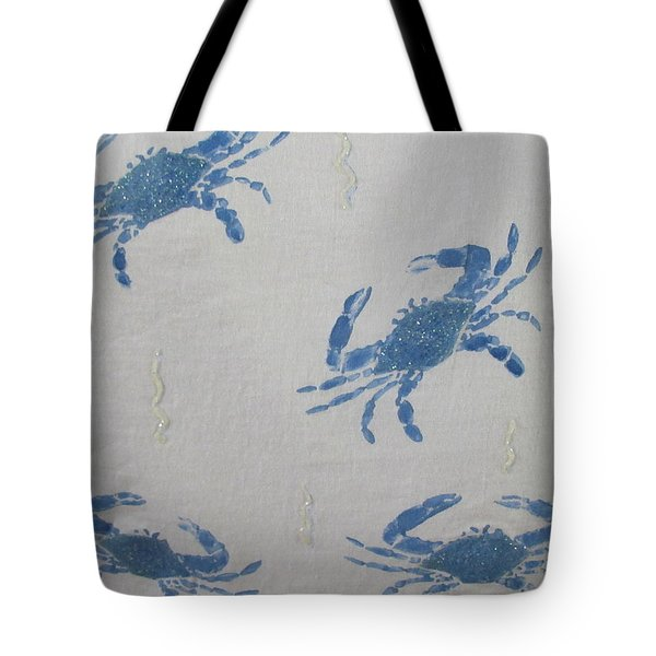 Blue Crabs On Sand Tote Bag