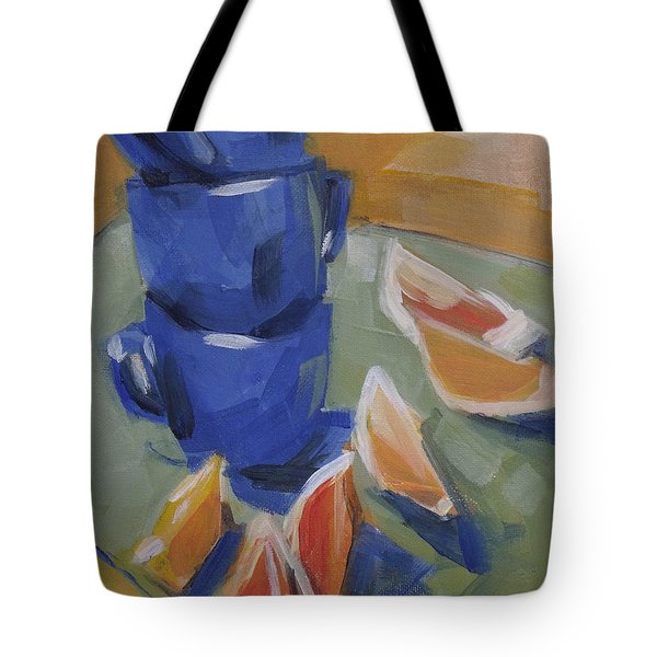 Blue Cups And Citrus Tote Bag