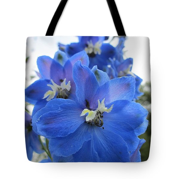 Blue Delphinium Rising Tote Bag by MTBobbins Photography