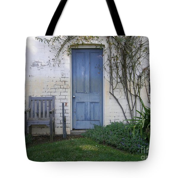 Tote Bag featuring the photograph Blue Door by Bev Conover