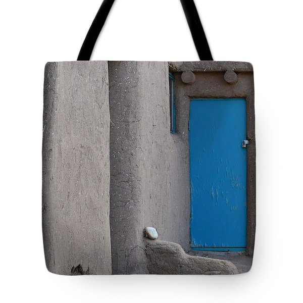 Tote Bag featuring the photograph Blue Door Gray Walls by Nadalyn Larsen