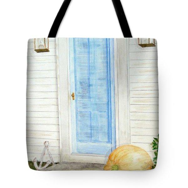 Blue Door With Pumpkin Tote Bag