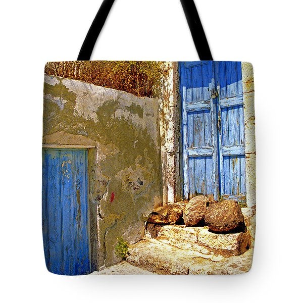 Blue Doors Of Santorini Tote Bag