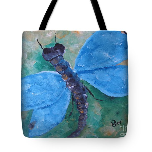 Blue -dragonfly Tote Bag by Beverly Livingstone