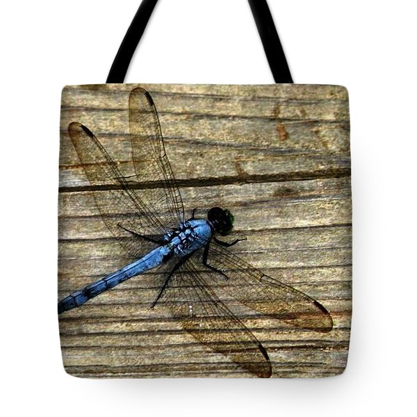 Blue Dragonfly Tote Bag by Carlee Ojeda
