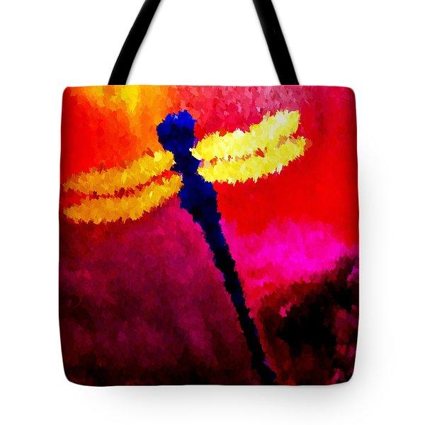 Blue Dragonfly No 2 Tote Bag by Anita Lewis