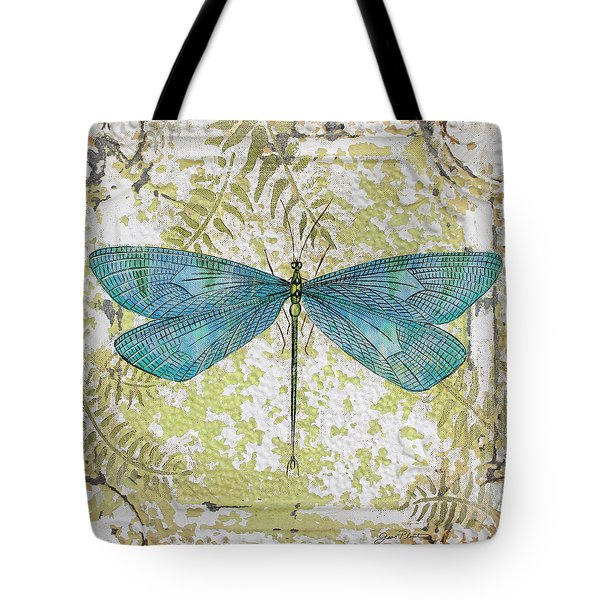 Blue Dragonfly On Vintage Tin Tote Bag by Jean Plout