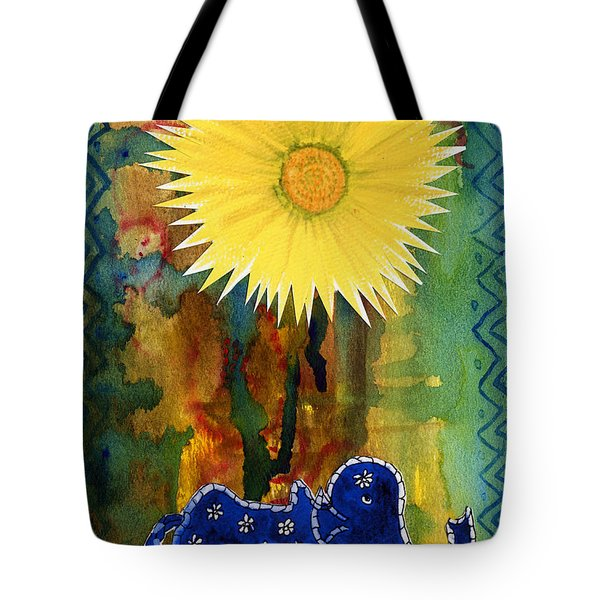Blue Elephant In The Rainforest Tote Bag
