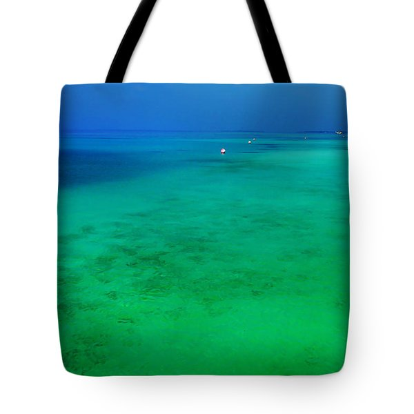 Blue Emerald. Peaceful Lagoon In Indian Ocean  Tote Bag by Jenny Rainbow