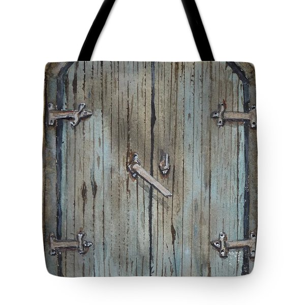 Tote Bag featuring the painting Blue Entrance Door Has Stories by Kelly Mills