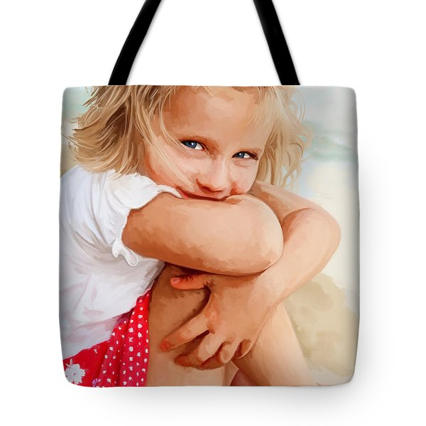 Tote Bag featuring the painting Blue Eyed Girl by Tim Gilliland