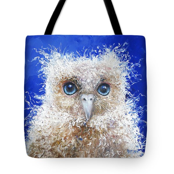 Blue Eyed Owl Painting Tote Bag