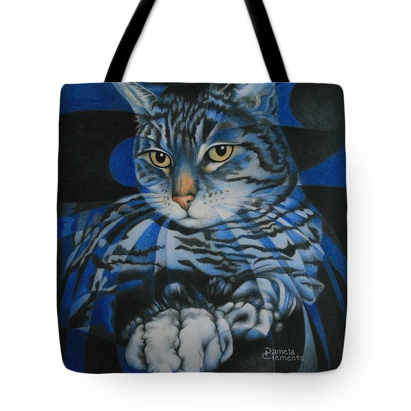 Blue Feline Geometry Tote Bag