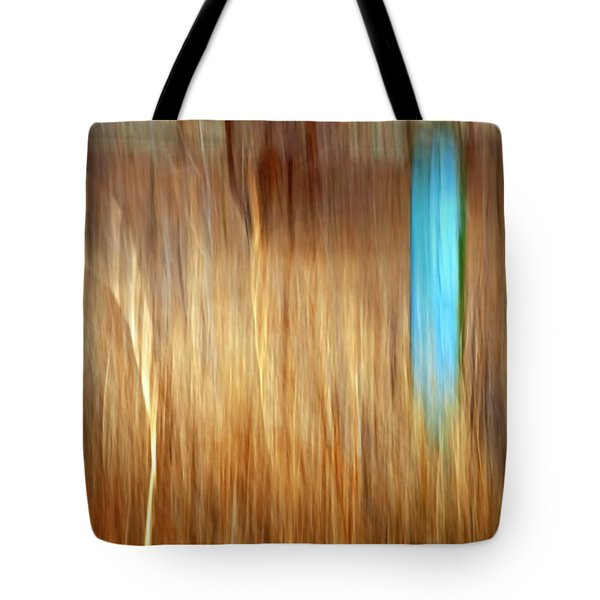 Blue Fencepost Tote Bag by Theresa Tahara