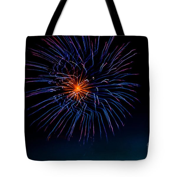 Blue Firework Flower Tote Bag by Robert Bales