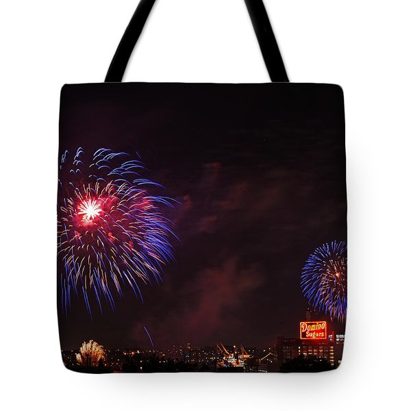 Blue Fireworks Over Domino Sugar Tote Bag