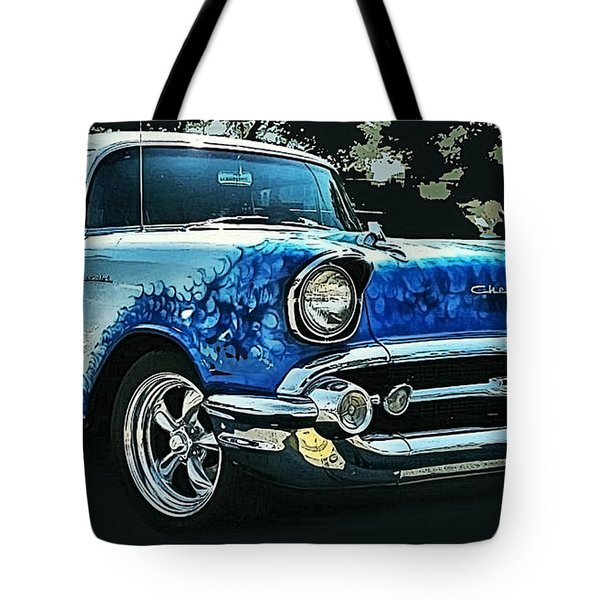 Blue Flames '57 Tote Bag