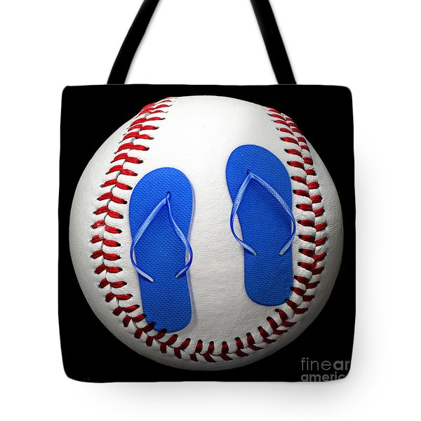 Blue Flip Flops Baseball Square Tote Bag by Andee Design