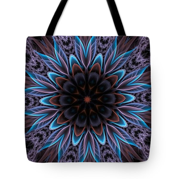 Tote Bag featuring the digital art Blue Flower by Lilia D