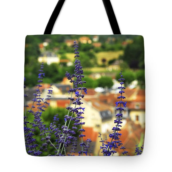 Blue Flowers And Rooftops In Sarlat Tote Bag by Elena Elisseeva