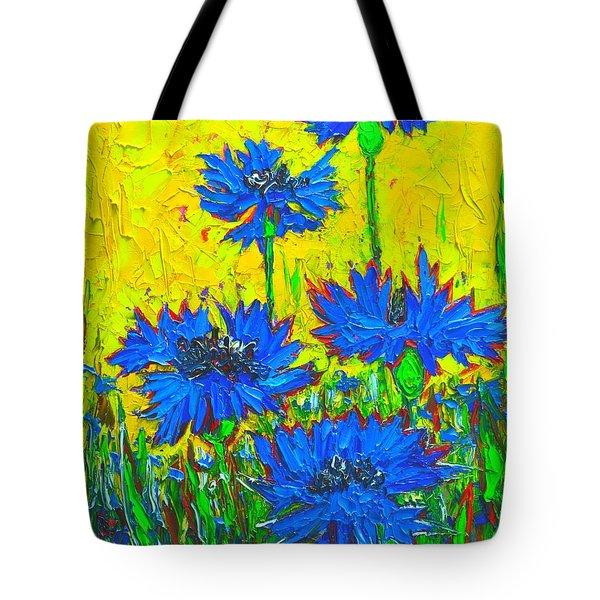 Blue Flowers - Wild Cornflowers In Sunlight  Tote Bag by Ana Maria Edulescu