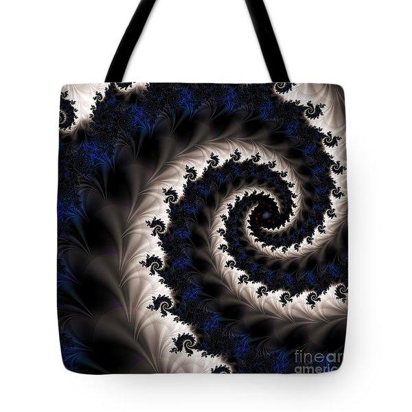 Blue Fractal Path Tote Bag by Elizabeth McTaggart