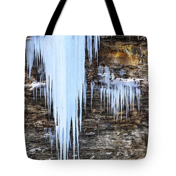 Blue Frozen Icicle Stalactites Tote Bag