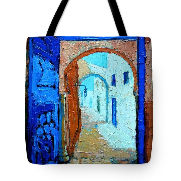 Tote Bag featuring the painting Blue Gate by Ana Maria Edulescu
