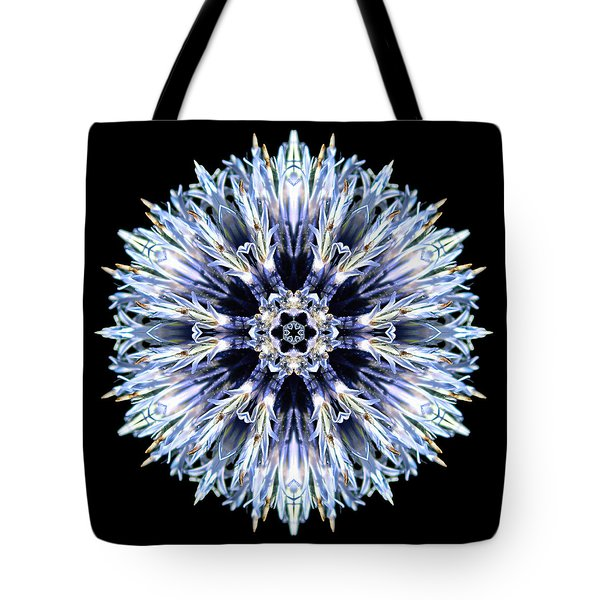 Blue Globe Thistle Flower Mandala Tote Bag
