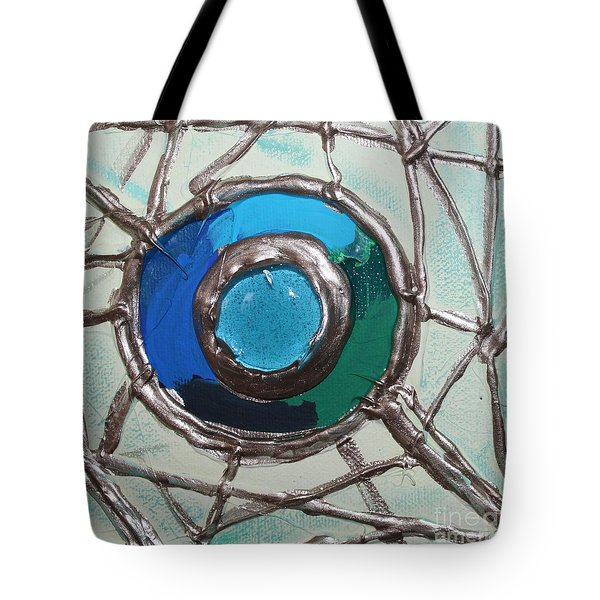 Blue Green And Gold Circle Tote Bag