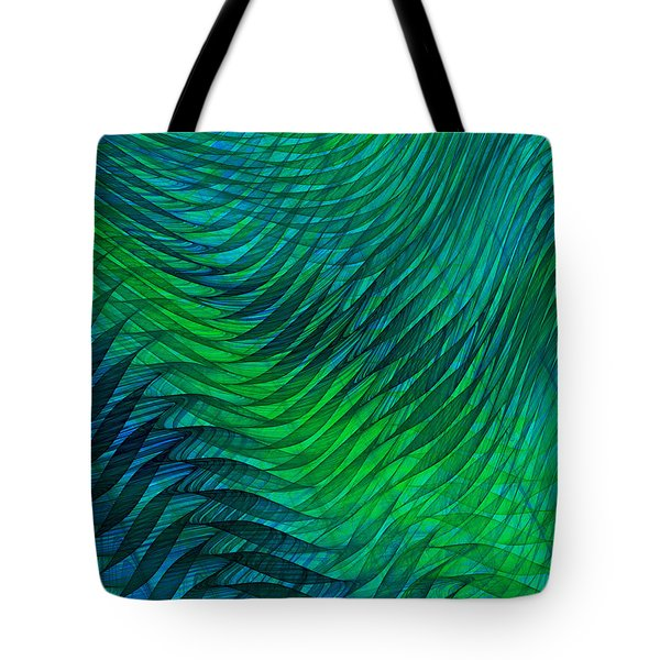 Blue Green Fabric Abstract Tote Bag by Jane McIlroy
