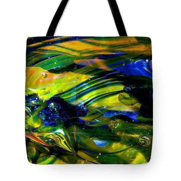 Blue Green Glass Macro Tote Bag by David Patterson